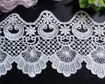 4 1/4 Fancy Water Soluble Embroidered Lace Trim selling by the yard