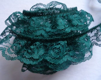 Ruffled Lace, 1+1/4 inch wide hunter color selling by the yard