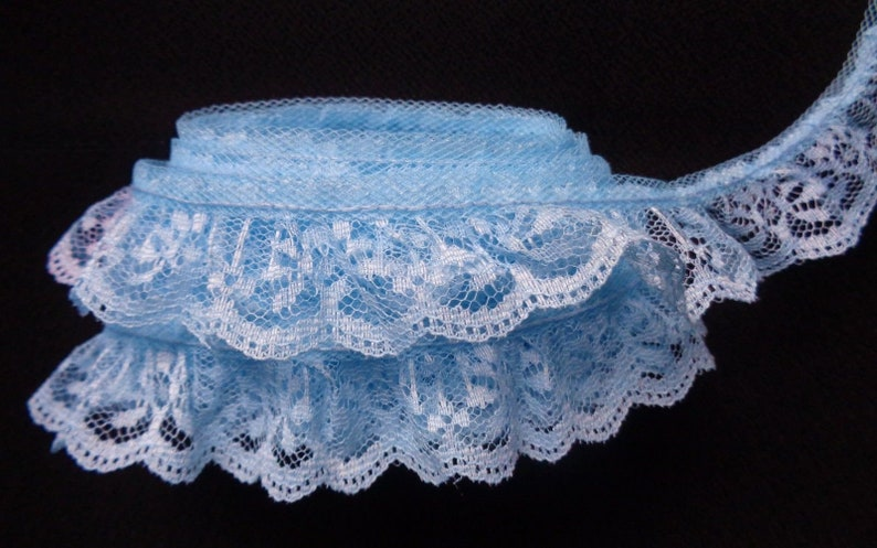 Lovely ruffled lace trim= selling by the yard //select color//