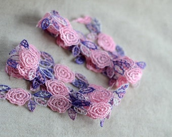 5/8 inch wide Delicate Pink+Purple Water soluble Embroidered Lace Trim  1 yard and 14 inch cut