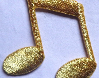 iron on applique - musical double note gold