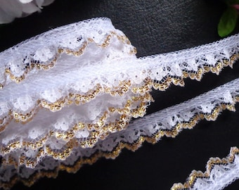 Ruffled Lace, 3/4 inch wide White - Gold color selling by the yard