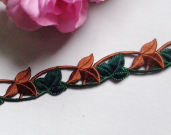 Iron On Patch Applique - Leaf Strip Green & Brown