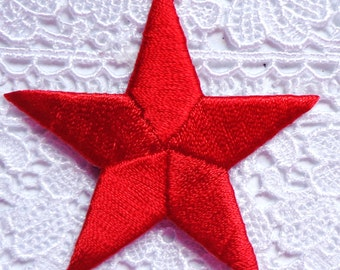 embroidered iron on applique red star 2 3/8 inch