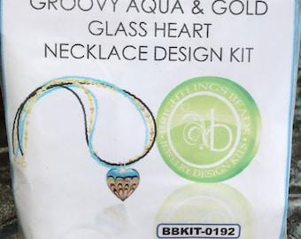 Aqua & Gold Murano Glass Heart Necklace Design Kit