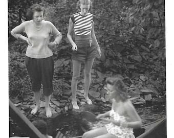 "Vintage Snapshot ""Pushing Off"" Skeptical Friends Timid Pretty Girl In Swimsuit Wooden Canoe Found Vernacular Photo"