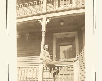"Vintage Snapshot ""Looking Up"" Pretty Girl Poses On Porch Railing 1939 Found Vernacular Photo"