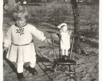 "Vintage Snapshot ""Nurse Doll"" China Doll Cute Little Girl Doll Chair Rubber Ball Found Vernacular Photo"