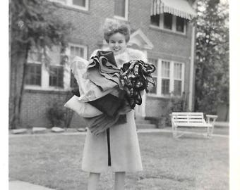 "Vintage Snapshot ""Moving In"" Pretty Girl Armful of Clothing Granny Square Afghan College Dorm First Apartment Found Vernacular Photo"