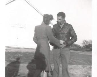 """Vintage Snapshot """"Serious Discussion"""" Handsome Man Leather Jacket Found Vernacular Photo"""