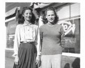 At The Cafe Small Mini-Photo Cute Teen Girls High School Teenagers 1940s Black White Vintage Snapshot