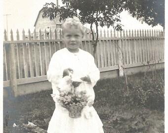 "Vintage Snapshot ""May Basket"" Flowers Bouquet Springtime Cute Little Girl Found Vernacular Photo"