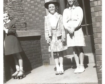 "Vintage Snapshot ""Brand New Roller Skates"" School 1942 Found Vernacular Photo"