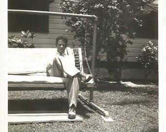 "Vintage Snapshot ""Laid Back"" Handsome Man Two-Tone Shoes Oxfords Porch Swing Found Vernacular Photo"