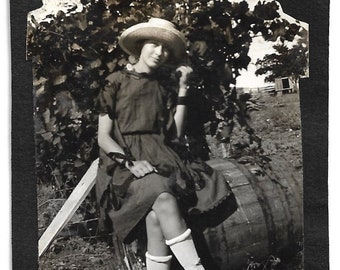 "Vintage Snapshot ""Over A Barrel"" Lovely Young Woman Rolled Stockings White Shoes Straw Hat Ribbon On Wrist 1920's Old Photo Snapshot"