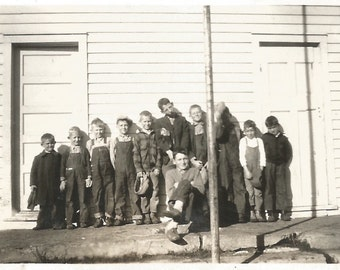 """Vintage Snapshot """"Odd Choice For A Class Picture"""" Boy Hiding Behind Flag Pole Kids Making Faces Found Vernacular Photo"""