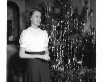 Vintage Christmas 1950's Photo Pretty Teen Girl Poses Next To Christmas Tree Vintage Tree Lights Tinsel Ornaments Bobby Soxer Fashion