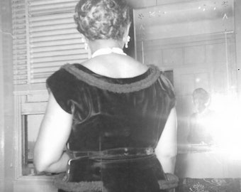 """Vintage Snapshot """"Mirror, Mirror"""" Faceless Woman Looks At Reflection In Mirror Camera Flash Black & White Found Photo Vernacular Photography"""