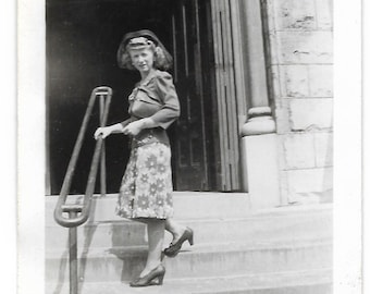 Chicago 1943 Vintage Photo Young Woman Poses On Steps Of Holy Name Cathedral Unusual Hat Black & White Casual Portrait Snapshot