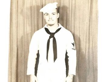 Sailor Military Man Vintage Photo US Navy Uniform Whites Sailor Cap Hat 1940's Snapshot Sepia Portrait Photography
