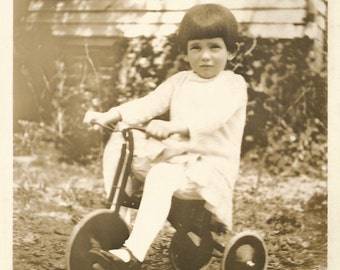 """Vintage Snapshot """"Brand New Tricycle"""" Young Child Poses On Three-Wheeled Bicycle Found Vernacular Photo"""