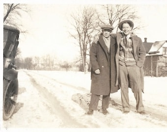 "Vintage Snapshot ""Plowing Through The Snow"" Happy-Go-Lucky Guy & Friend Old Car Rural America Snow Drifts 1922 Found Vernacular Photo"