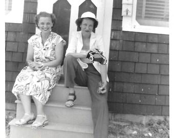 "Vintage Snapshot ""Shutterbug"" Woman Photographer Folding Camera Summer Cabin Accordion Camera Found Vernacular Photo"