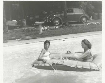 "Vintage Snapshot ""Lazy Days Of Summer"" Pool Float Raft Swimsuits VW Beetle Found Vernacular Photo"