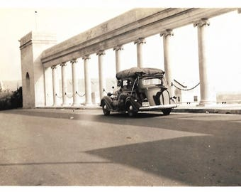 """Vintage Snapshot """"Road Trip"""" Camping Canvas Tent Old Car Driving Away Found Vernacular Photo"""