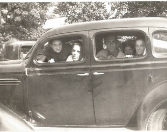 "Vintage Snapshot ""The Old Jalopy"" Lots Of Teenagers Piled Into Vintage Car High School Hijinks Found Vernacular Photography"