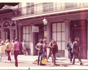 New Orleans 1973 Vintage Color Photo Street Musician Busker Cool Fashion Handsome Man With Long Hair & Beard Guitar Case Street Photography