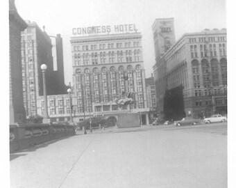"Vintage Snapshot ""Congress Hotel"" Haunted Hotel Chicago Illinois Congress Plaza Ghosts Voices Black & White Found Vernacular Photo"