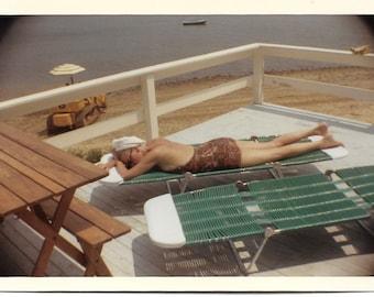Bathing Beauty 1968 Vintage Kodacolor Snapshot Swimsuit Woman On Chaise Lounge Paisley Sixties Bathing Suit Towel Turban Beach Photo