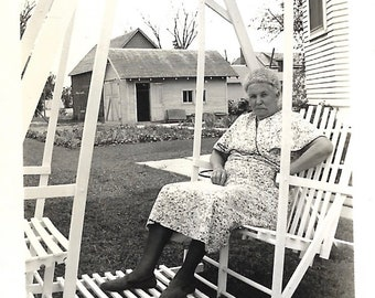 """Vintage Snapshot """"Crabby Neighbor Lady"""" Sourpuss Old Lady Sitting In Wooden Swing Black & White Found Vernacular Photo"""
