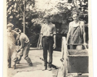 Men At Work Vintage Photo Construction Workers With Shovels & Wheelbarrow Smiling Man Wearing Overalls 1930's Snapshot