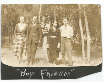 "Vintage Snapshots ""Boy Friends"" Teenagers Letter Sweater Found Vernacular Photo Handwritten Caption"