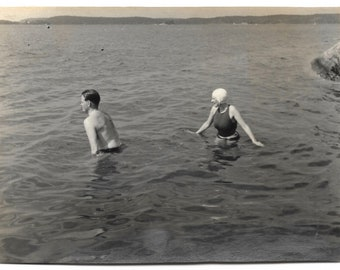 Swimmers In The Lake Vintage Snapshot Bathing Suits Swim Cap Swimsuit Young Man And Woman Swimming Black & White Photography