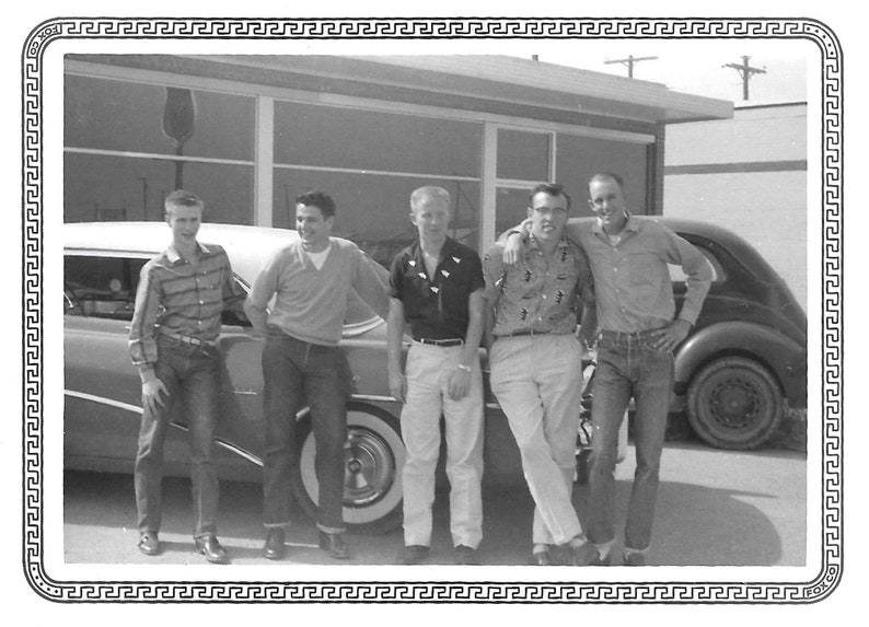 1402434fb96a0 College Buddies Cute Guys Blue Jeans Cowboy Boots Texas Black & White  Vintage Snapshot Photo