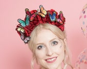 Floral Crown with Red Roses and Rainbow Butterflies