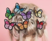 Butterfly Hair Clips Embroidery Bridal Rainbow Wedding Fascinator Hat Set of 7