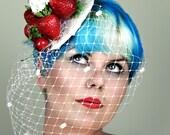 Cake Fascinator Hat Bridal Pinup Vintage Retro Kitsch Pinup Strawberries and Cream Cupcakes