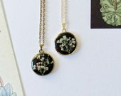 Black Pressed Flower Necklace in Ivory Lace