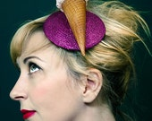 Ice Cream Fascinator Glitter Pink Cherry Quirky Bridal Hair Accessory