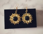 Gold Boho Sunflower Earrings with Onyx Crystals