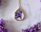 Violet Pressed Flower Necklace