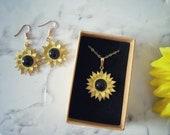 Sunflower Crystal Onyx Jewellery Gift Set
