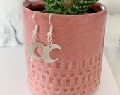 Crescent Moon Earrings Silver Dangle Platinum Plated
