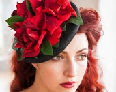 Fascinator Hat Vintage Red Rose Wedding Bride Bridal Retro Elegant