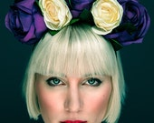 Floral Crown Hairband in Purple and Cream Bridal Wedding Festival