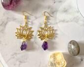 Spiritual Amethyst and Lotus Flower Earrings   Calming anti anxiety jewellery